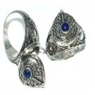 925 Sterling Silver Bali Hand-Made Poison Ring with Genuine Lapis