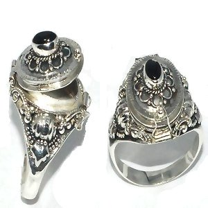925 Sterling Silver Bali Oval Poison Ring with Genuine Black Onyx