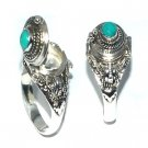 925 Sterling Silver Poison Ring with Genuine Turquoise
