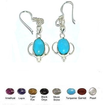 925 Sterling Silver Handmade Genuine Stone Earrings including Turquoise