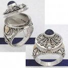 925 Sterling Silver Blue Lapis Poison Ring with Gold Plated Accents