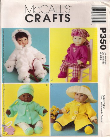 McCall's Crafts Pattern P350 - Baby Doll Clothes