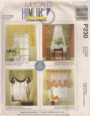 McCall's Home Decor Sewing Pattern P230 (aka 2788) - Window Treatments