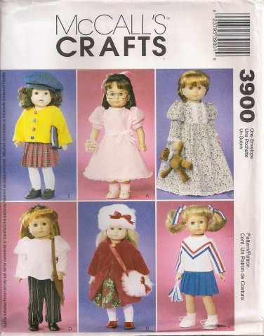 """McCall's Crafts Sewing Pattern 3900 - 18"""" Doll Clothes"""