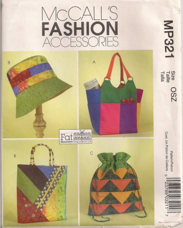 McCall's Fashion Accessories Sewing Pattern MP321 (aka M4795) - Misses' Hat, Totes, Handbag