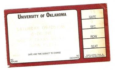 1998 Oklahoma v North Texas Ticket Stub