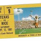 1981 Texas v Rice Ticket Stub