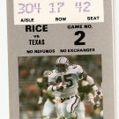 1988 Texas v Rice Ticket Stub