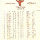 1980 Texas v Arkansas Baseball Scorecard