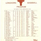 1981 Texas v TCU Baseball Scorecard