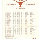 1981 Texas v Rice Baseball Scorecard