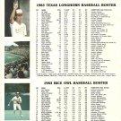1983 Texas v Rice Baseball Scorecard Roger Clemens