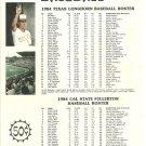 1984 Texas v Cal State-Fullerton Baseball Scorecard