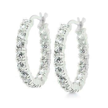 Sterling Silver Eternity Hoop Earrings