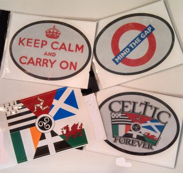 Celtic/British Stickers - Set of Four (Free Shipping)