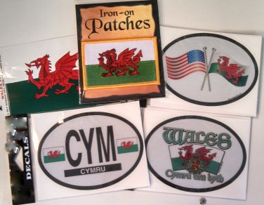 Wales/Welsh Sticker and Patch Set - Set of Five (Free Shipping)