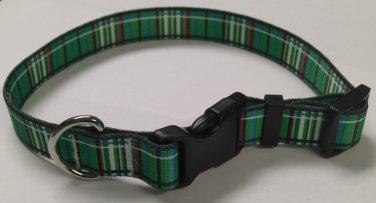 Dog Collar - Green Tartan - size Small