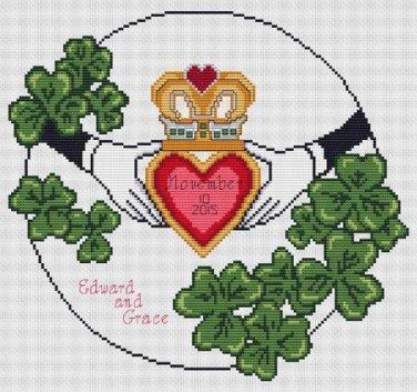 Wedding Claddagh Counted Cross Stitch Chart