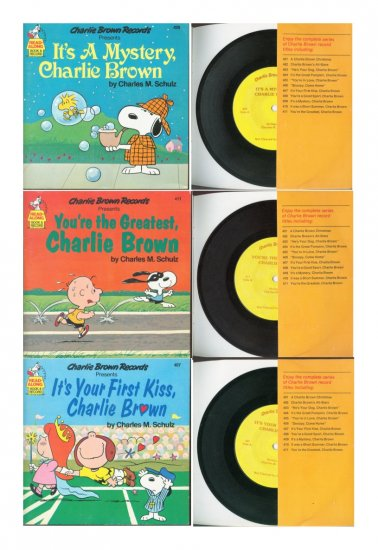 Lot of 3 Charlie Brown Read Along Books and Records