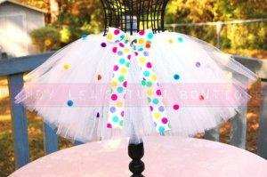RAINBOW POLKA DOT | youth girls 'bows-n-bling' tutu