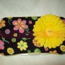 Custom Baby Wipes TRAVEL Case | CUTE FLOWERS w BUTTON FLOWER