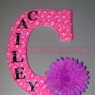 HOT PINK CHEETAH w RHINESTONE CENTER FLOWER | initial letters and names