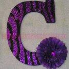 GLITTER ZEBRA STRIPES w Rhinestone Center Flower - single wooden letter