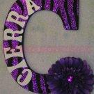 GLITTER ZEBRA STRIPES w Rhinestone Center Flower - Initial and name