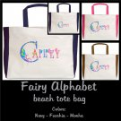 FAIRY ALPHABET | personalizable beach tote