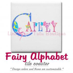 FAIRY ALPHABET | personalizable tile coaster