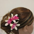 3pc PINK Wedding Bridal Bridal Prom Orchid flower bobby pins hair clips
