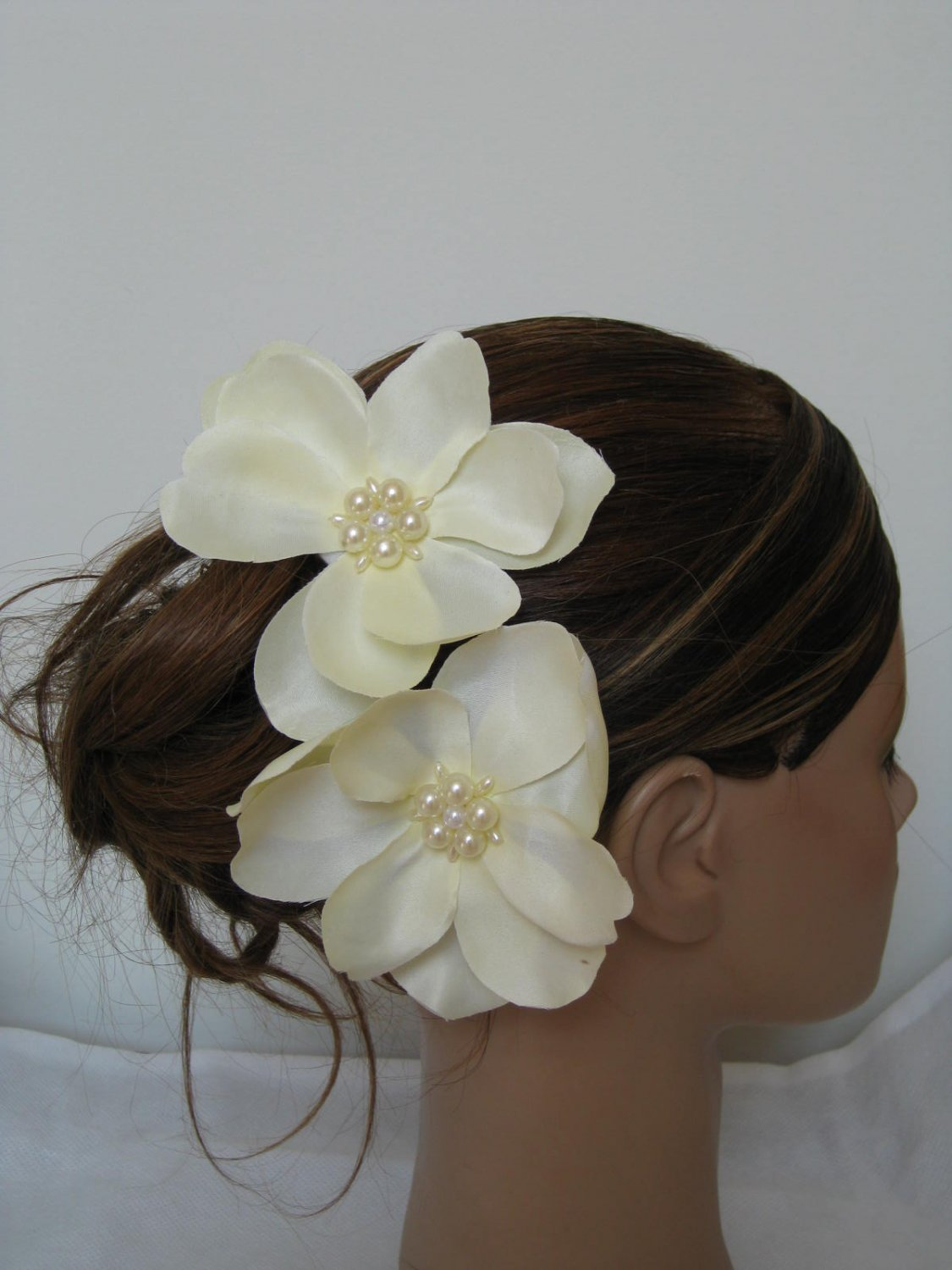 2 Magnolia Flower Bridal Prom Hair Clips Pin Brooch Ivory