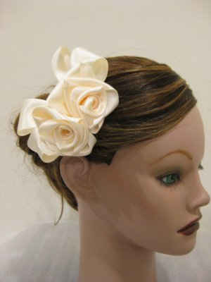 Bridal IVORY Satin Rose Hair Bow Clip Barrette Bridesmaid Prom Flower Girl