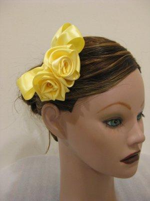 YELLOW Satin Rose Hair Bow Clip Barrette Bridesmaid Prom Flower Girl