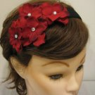 RED Rhinestone Hydrangea Flower Cluster Headband Christmas Holiday Valentine's Day