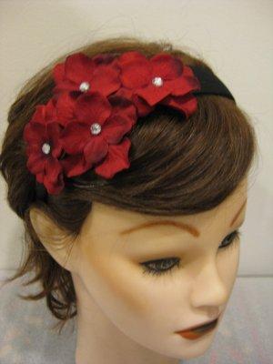 RED Rhinestone Hydrangea Flower Cluster Headband Christmas Holiday Valentine's Day