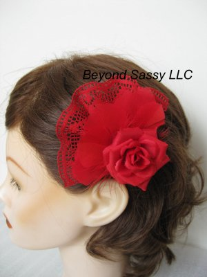 Vintage Style RED Rose Lace Feather Flower Fascinator Hair Clip