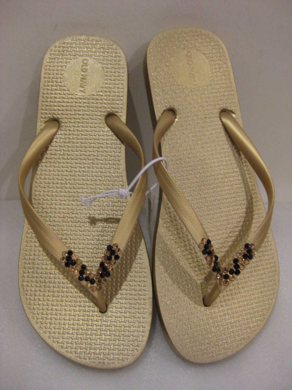 Embellished Swarovski Crystal METALLIC GOLD Flat Flip Flops SMOKE Topaz Leopard Style Sz 9