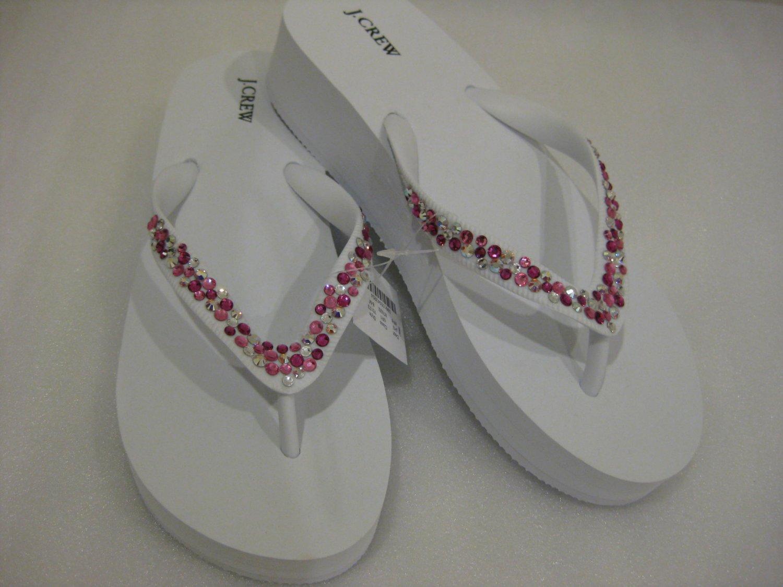 Embellished Swarovski Crystal J. CREW wedge flip flops Size 8M WHITE PINK