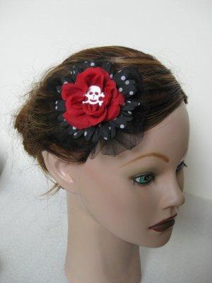 Halloween Red Black Silk Flower Skull Gothic Rose Hair Clip