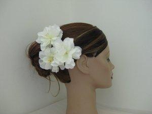3pc Ivory Cream Wedding Bridal Prom Ruffle Flower Hair Clips