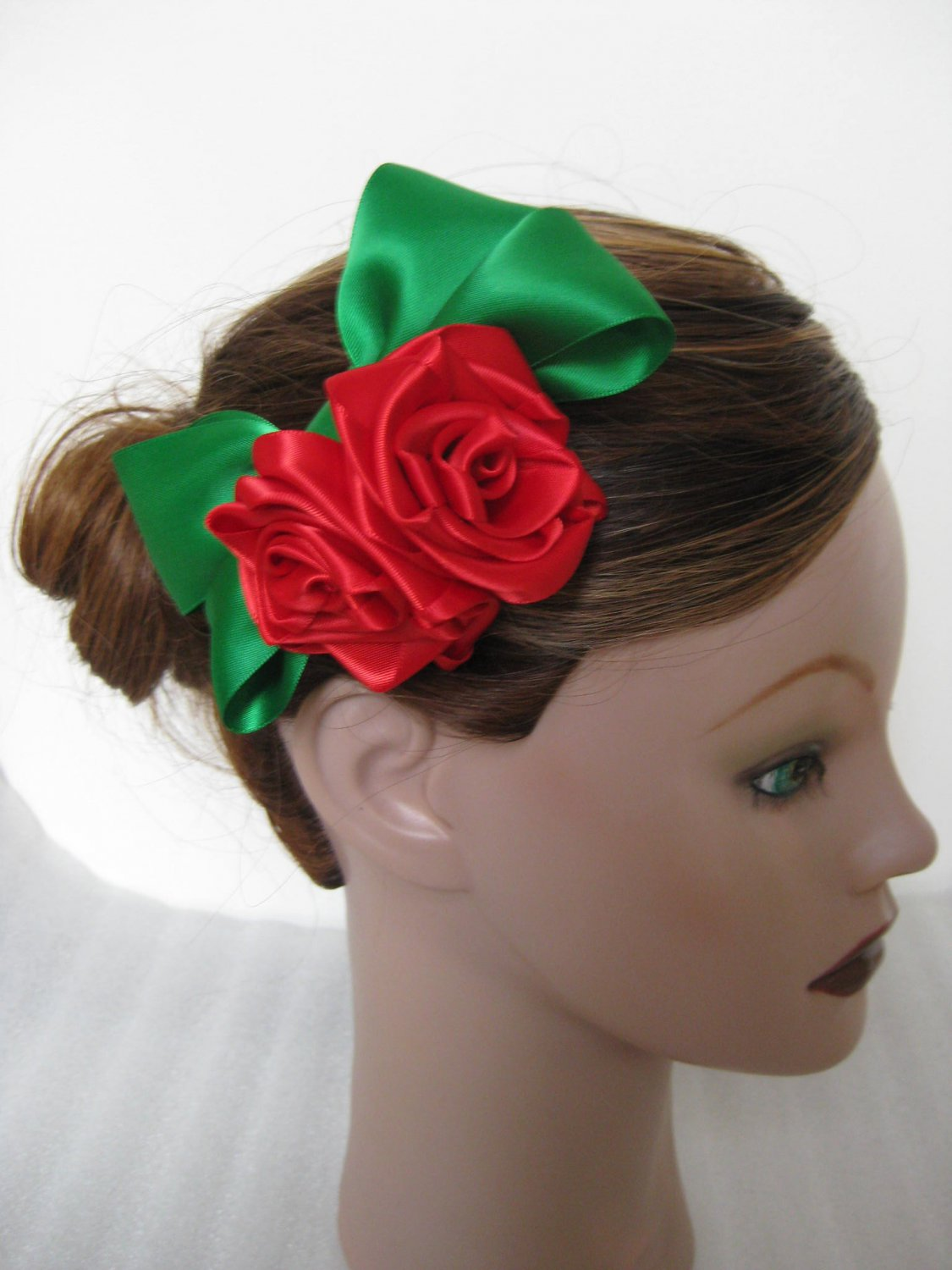 Girls Ladies Christmas GREEN RED Satin Rose Hair Bow Clip Barrette