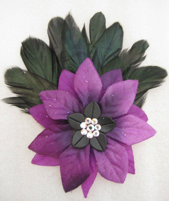 PURPLE Christmas Crystal Feather Poinsettia Flower Fascinator Hair Clip