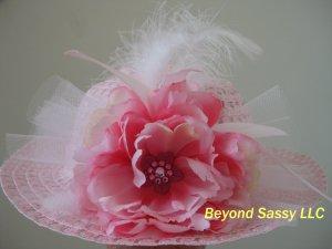 Girls Spring Easter Pink Derby Style Swarovski Crystal Flower Feather Hat