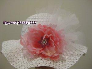 Girls Spring Easter White Derby Style Swarovski Crystal Pink Flower Feather Hat