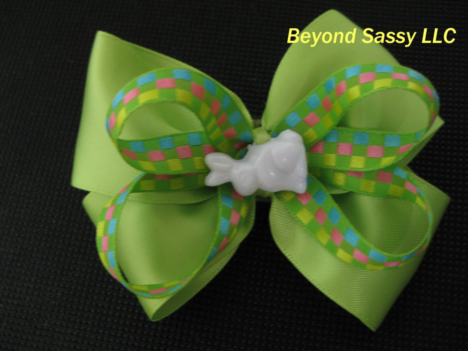 Baby Toddler Girls Spring Easter Bunny Apple Green Hair Bow Clip
