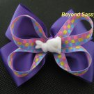 Baby Toddler Girls Spring Easter Bunny Purple Hair Bow Clip