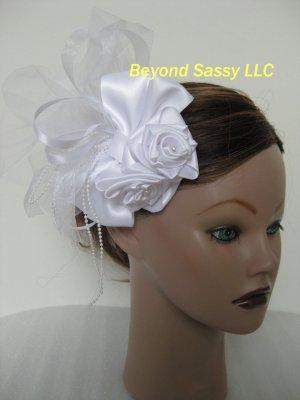 Wedding Bridal First Communion White Satin Rose Hair Bow Pouf Headpiece Barrette Clip