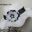 Lace Band Easter Bonnet Toddler Girls Black White Hat Swarovski Crystal Flower
