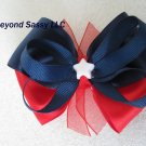 Girls July 4th Color Block Patriotic Star Hair Bow Clip Red White Blue